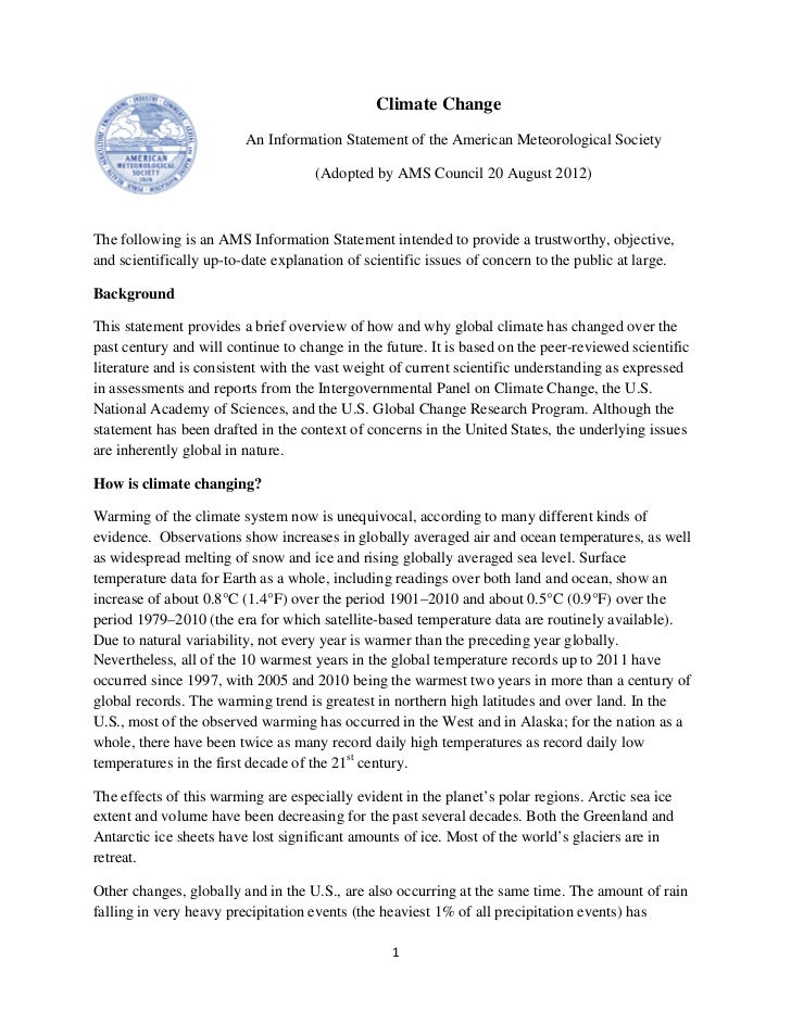 Climate Change                         An Information Statement of the American Meteorological Society                    ...