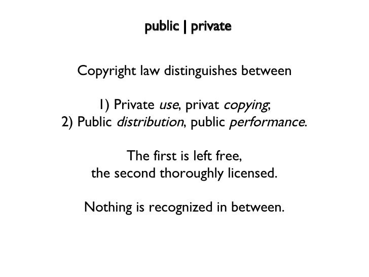 Copyright law distinguishes between 1) Private  use , privat  copying ; 2) Public  distribution , public  performance . Th...