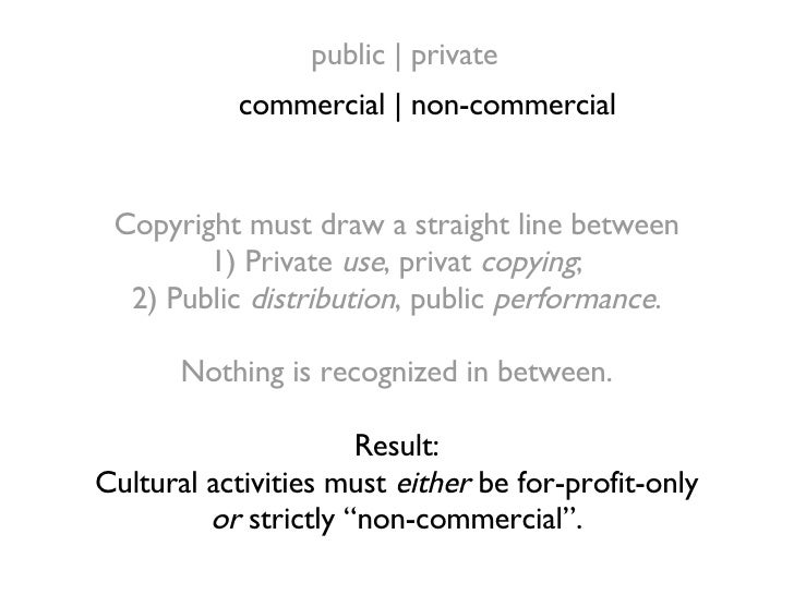 Copyright must draw a straight line between 1) Private  use , privat  copying ; 2) Public  distribution , public  performa...