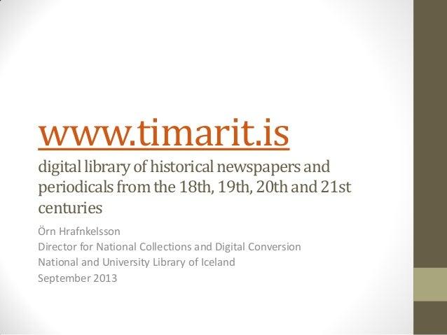 www.timarit.is digitallibraryofhistoricalnewspapersand periodicalsfromthe18th,19th,20thand21st centuries Örn Hrafnkelsson ...