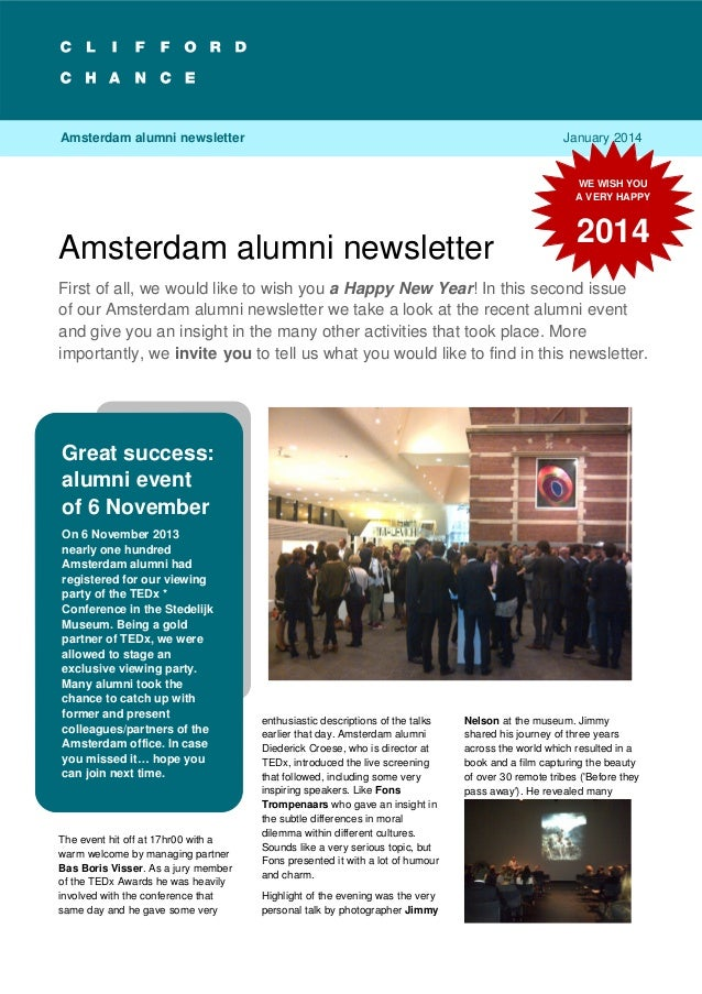 Amsterdam alumni newsletter  1  January 2014  Amsterdam alumni newsletter  WE WISH YOU A VERY HAPPY  Amsterdam alumni news...