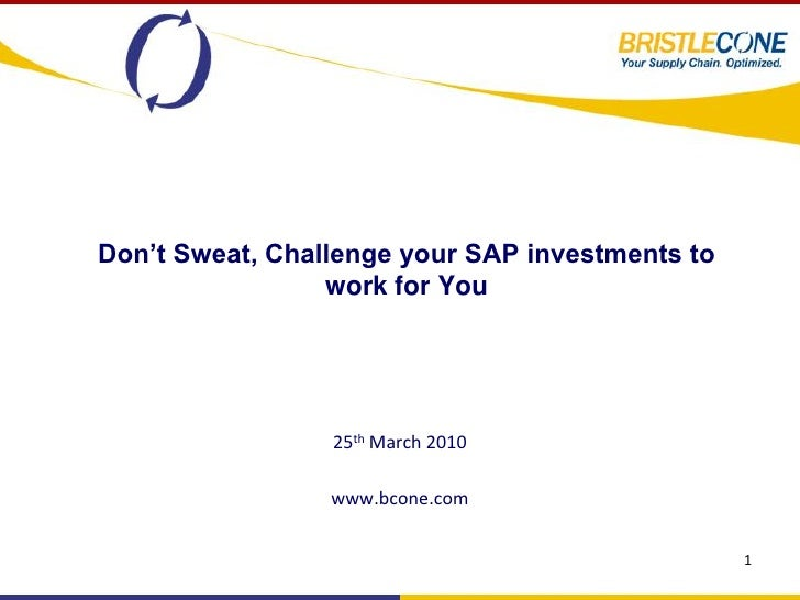 Don't Sweat, Challenge your SAP investments to                  work for You                      25th March 2010         ...