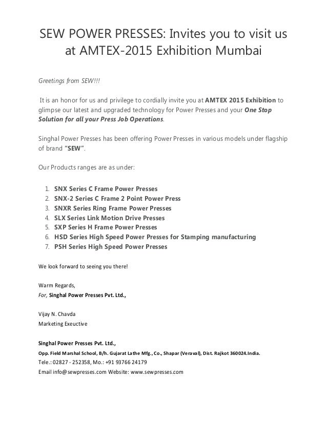 SEW POWER PRESSES: Invites you to visit us at AMTEX-2015 Exhibition Mumbai Greetings from SEW!!! It is an honor for us and...
