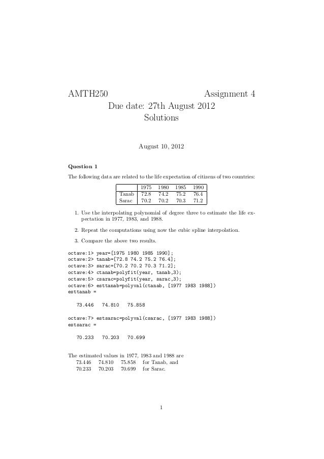 AMTH250                        Assignment 4       Due date: 27th August 2012                Solutions                     ...
