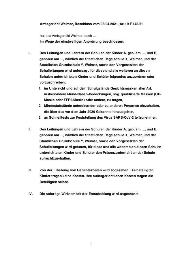 1 Amtsgericht Weimar, Beschluss vom 08.04.2021, Az.: 9 F 148/21 hat das Amtsgericht Weimar durch … im Wege der einstweilig...