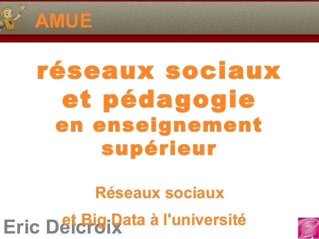 Eric Delcroix AMUE réseaux sociaux et pédagogie en enseignement supérieur Réseaux sociaux et Big Data à l'université