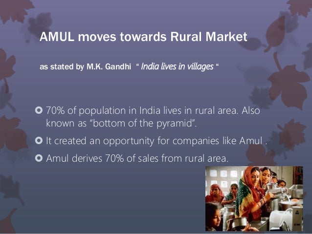 marketing startegies adopted by amul in rural areas Amul and the evolution of the anand model  most of the significant  developments in dairying in india have taken root in this century  milk  procurement from the rural areas and its marketing in the urban areas was the  major  the strategy for organized dairy development in india was actually  conceived in the late 1960s,.