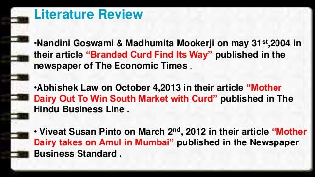 review of literature on amul