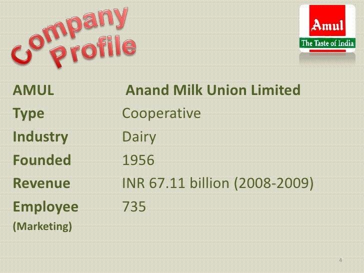 AMUL           Anand Milk Union LimitedType          CooperativeIndustry      DairyFounded       1956Revenue       INR 67....