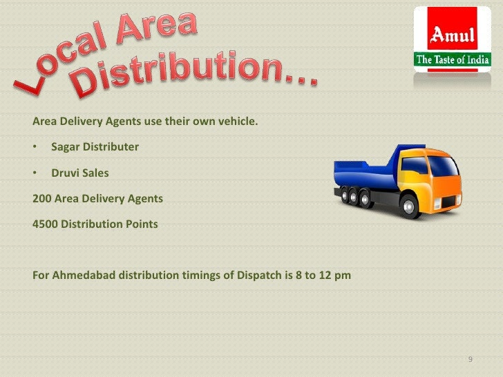 Area Delivery Agents use their own vehicle.•   Sagar Distributer•   Druvi Sales200 Area Delivery Agents4500 Distribution P...