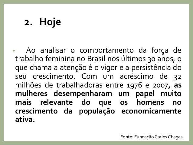 2. Hoje • Ao analisar o comportamento da força de trabalho feminina no Brasil nos últimos 30 anos, o que chama a atenção é...