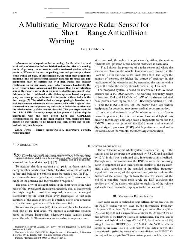 2270 IEEE TRANSACTIONS ON VEHICULAR TECHNOLOGY, VOL. 49, NO. 6, NOVEMBER 2000 A Multistatic Microwave Radar Sensor for Sho...