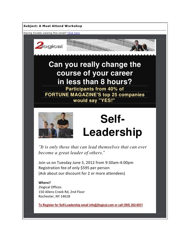 Subject: A Must Attend WorkshopHaving trouble viewing this email? Click here                    Can you really change the ...
