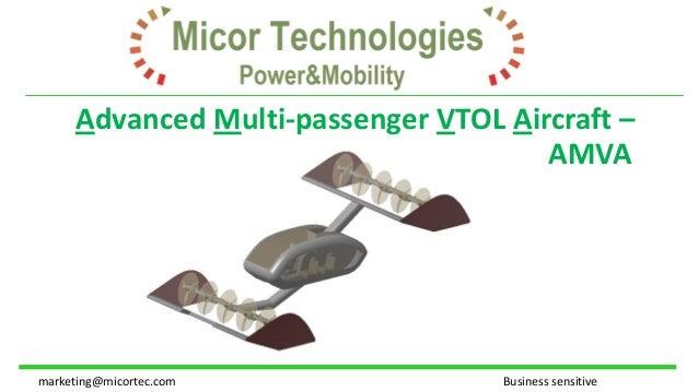 Advanced Multi-passenger VTOL Aircraft – AMVA marketing@micortec.com Business sensitive