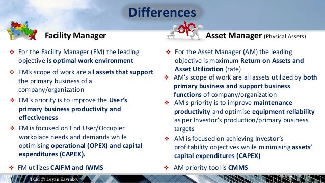 Asset Management and Facility Management - Differences or