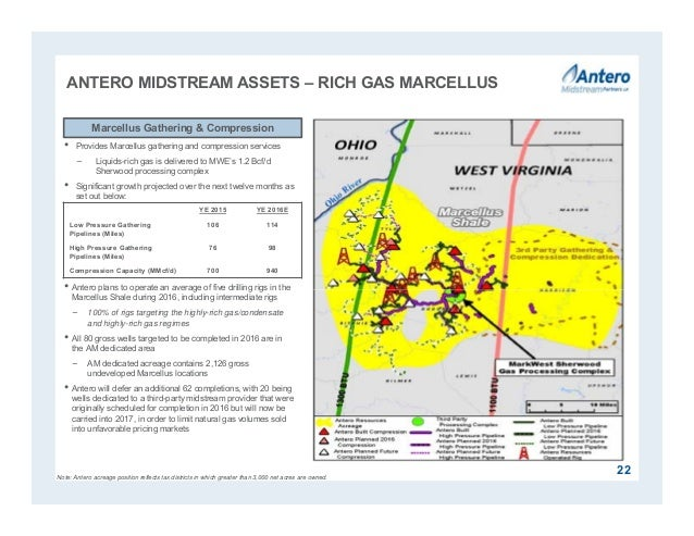 ANTERO MIDSTREAM ASSETS – RICH GAS MARCELLUS 22 • Provides Marcellus gathering and compression services − Liquids-rich gas...