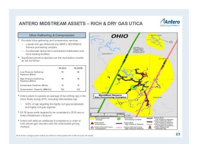 23 • Provides Utica gathering and compression services − Liquids-rich gas delivered into MWE's 800 MMcf/d Seneca processin...
