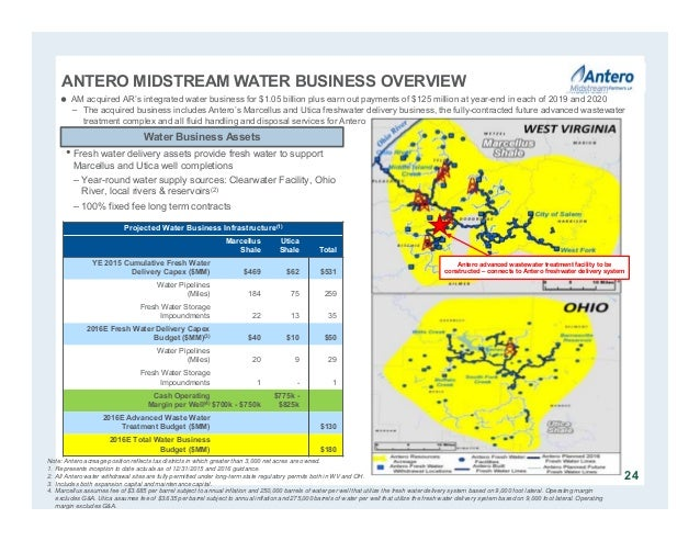 ANTERO MIDSTREAM WATER BUSINESS OVERVIEW 24 Note: Antero acreage position reflects tax districts in which greater than 3,0...