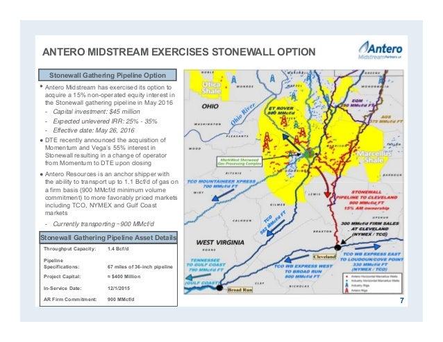 ANTERO MIDSTREAM EXERCISES STONEWALL OPTION • Antero Midstream has exercised its option to acquire a 15% non-operated equi...