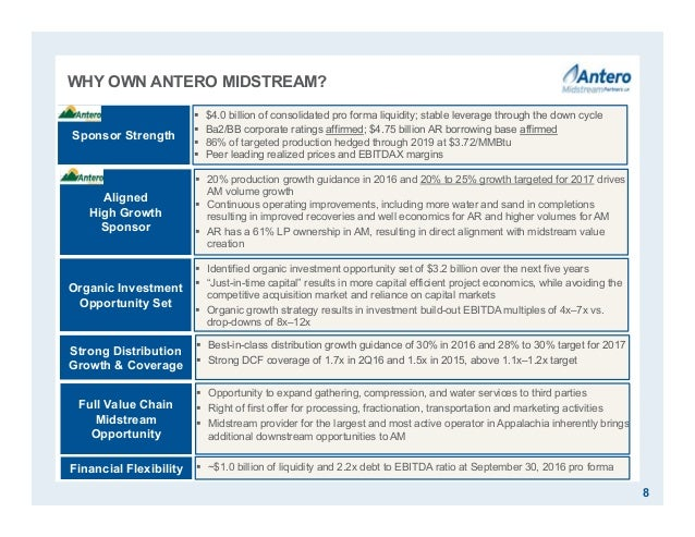 WHY OWN ANTERO MIDSTREAM? 8  Best-in-class distribution growth guidance of 30% in 2016 and 28% to 30% target for 2017  S...