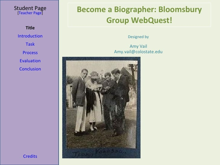 Become a Biographer: Bloomsbury Group WebQuest! Student Page Title Introduction Task Process Evaluation Conclusion Credits...