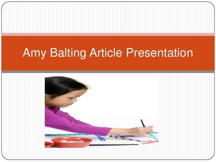 Amy Balting Article Presentation
