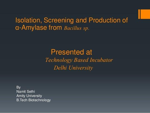 Isolation, Screening and Production of α-Amylase from Bacillus sp. By Namit Sethi Amity University B.Tech Biotechnology Pr...
