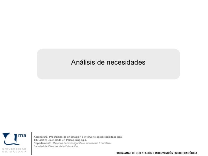 Análisis de necesidades Asignatura: Programas de orientación e intervención psicopedagógica. Titulación: Licenciado en Psi...