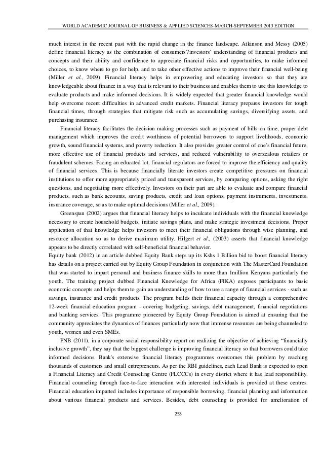essay on importance of financial literacy