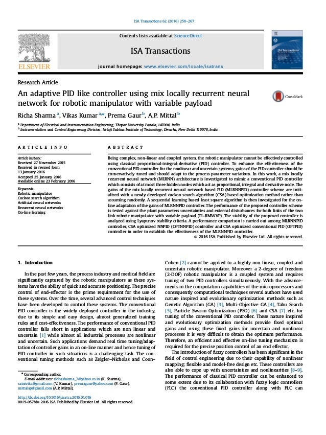 Research Article An adaptive PID like controller using mix locally recurrent neural network for robotic manipulator with v...