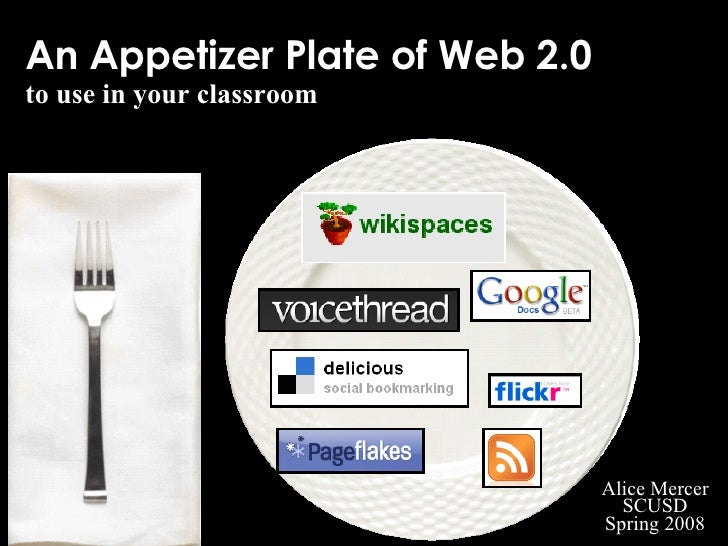 An Appetizer Plate of Web 2.0 to use in your classroom Alice Mercer SCUSD Spring 2008