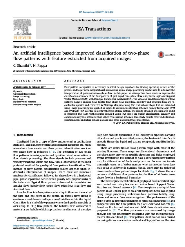 Research article An artificial intelligence based improved classification of two-phase flow patterns with feature extracted f...