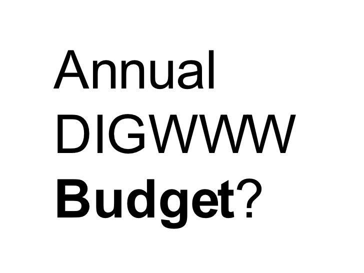 Annual DIGWWW  Budget ?