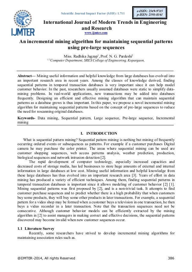 an efficient algorithm for mining sequential Pp 4811–4824 an efficient algorithm for mining sequential  rules with interestingness measures thi-thiet pham 1,2 , jiawei  luo.