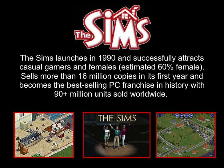 The Sims launches in 1990 and successfully attracts casual gamers and females (estimated 60% female). Sells more than 16 m...