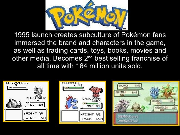 1995 launch creates subculture of Pokémon fans  immersed the brand and characters in the game, as well as trading cards, t...