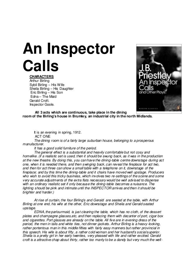 essay on arthur birling In the former play he uses the character of mr arthur birling is this the perfect essay for you save time and order 'an inspector calls' play by jb priestley.