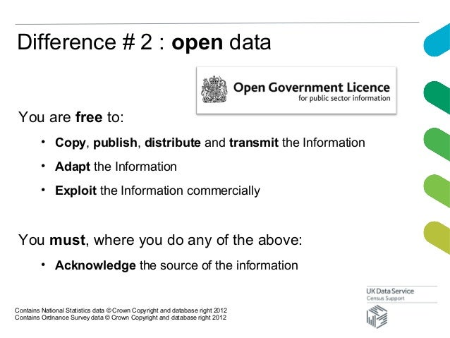 Difference # 2 : open dataYou are free to:• Copy, publish, distribute and transmit the Information• Adapt the Information•...