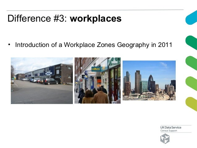 Difference #3: workplaces• Introduction of a Workplace Zones Geography in 2011