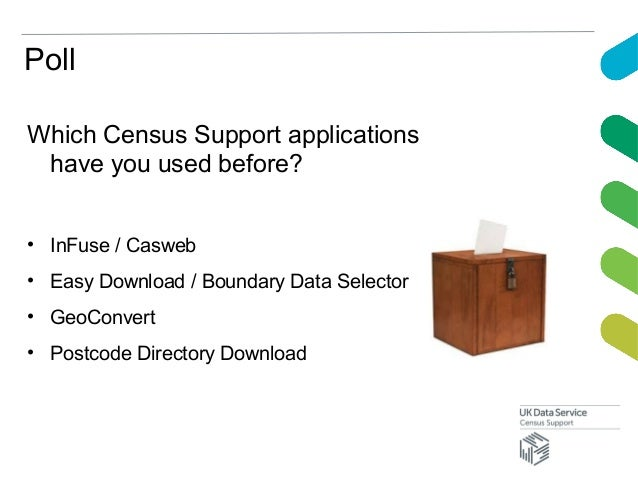 PollWhich Census Support applicationshave you used before?• InFuse / Casweb• Easy Download / Boundary Data Selector• GeoCo...