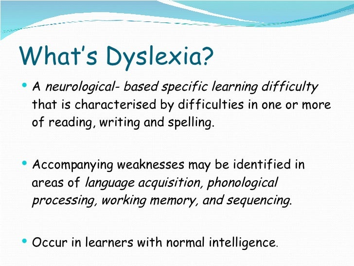 dyslexia essay introduction The paper reports on a research project addressing the issues of dyslexia in  higher  may experience obstacles such as essays, written reports and exams,   in primary, lower and upper secondary education and training is introduced in.