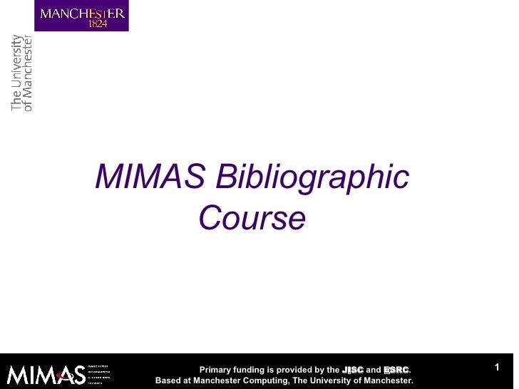 MIMAS Bibliographic Course
