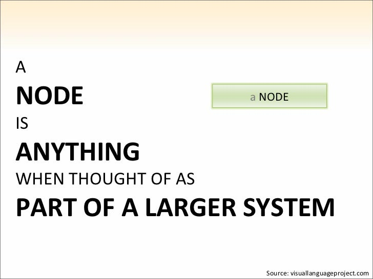 A NODE IS ANYTHING WHEN THOUGHT OF AS PART OF A LARGER SYSTEM Source: visuallanguageproject.com a  NODE