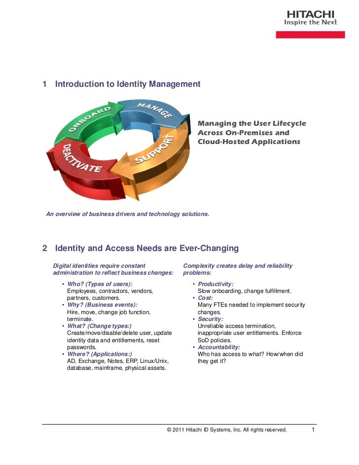 1 Introduction to Identity Management                                                         Managing the User Lifecycle ...