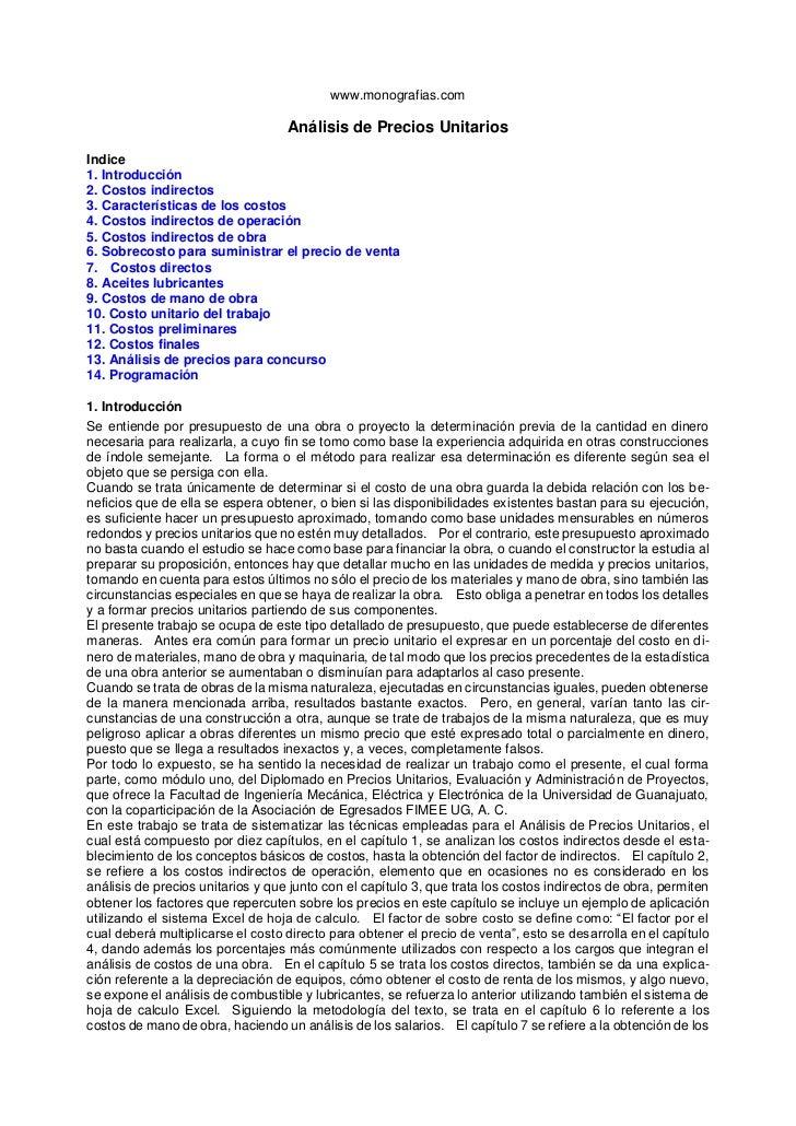 www.monografias.com<br />Análisis de Precios Unitarios<br />Indice1. Introducción2. Costos indirectos3. Características de...