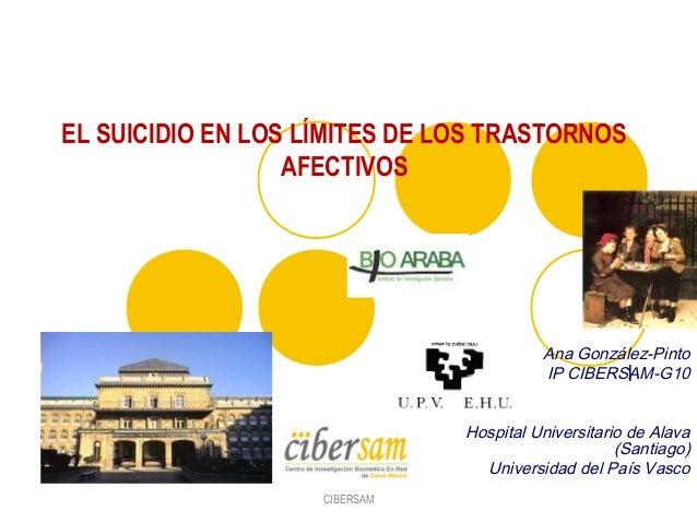 lAna González-PintoIP CIBERSAM-G10Hospital Universitario de Alava(Santiago)Universidad del País VascoEL SUICIDIO EN LOS LÍ...