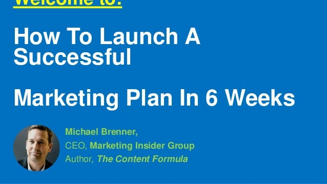 Welcome to: How To Launch A Successful Marketing Plan In 6 Weeks Michael Brenner, CEO, Marketing Insider Group Author, The...