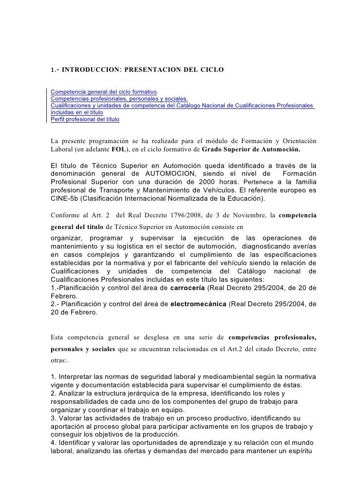 1.- INTRODUCCION: PRESENTACION DEL CICLO   Competencia general del ciclo formativo Competencias profesionales, personales ...