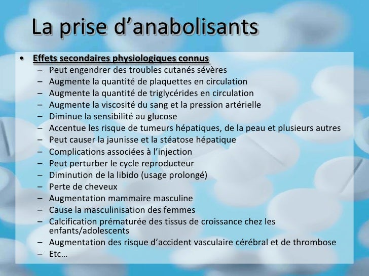 effet secondaire steroide anabolisant