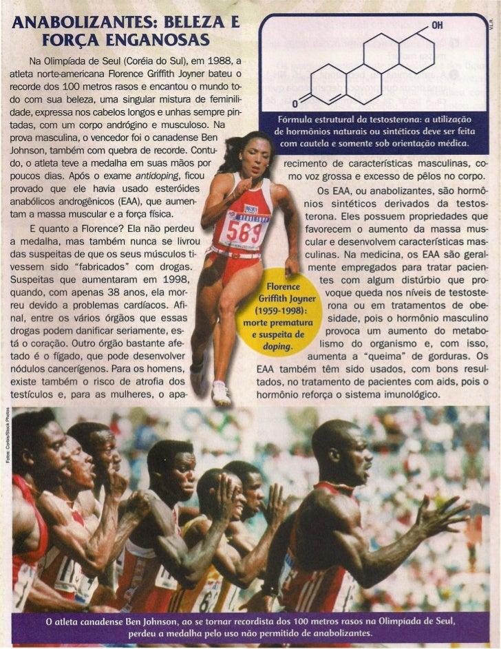 ANABOLIZANTES: BELEZA E   FORÇA ENGANOSAS      Na Olimpíada de Seul (Coréia do Sul), em 1988, aatleta norte-americana Rore...